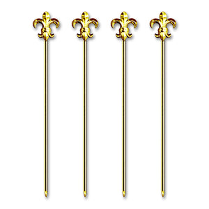 Deluxe Tall Gold Plated Metal Fleur-De-Lis Stirrer/Cocktail Pick - 4 Pc Set w/ Gift Box