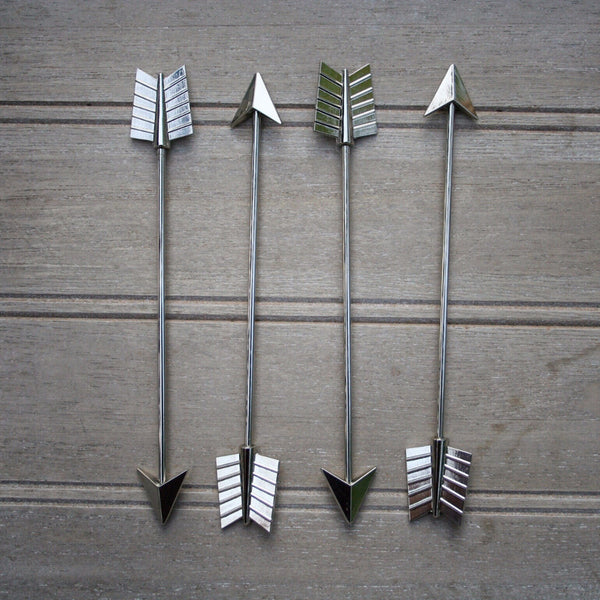 Short Metal Arrow Stirrers - 4 Pc Set w/Gift Box