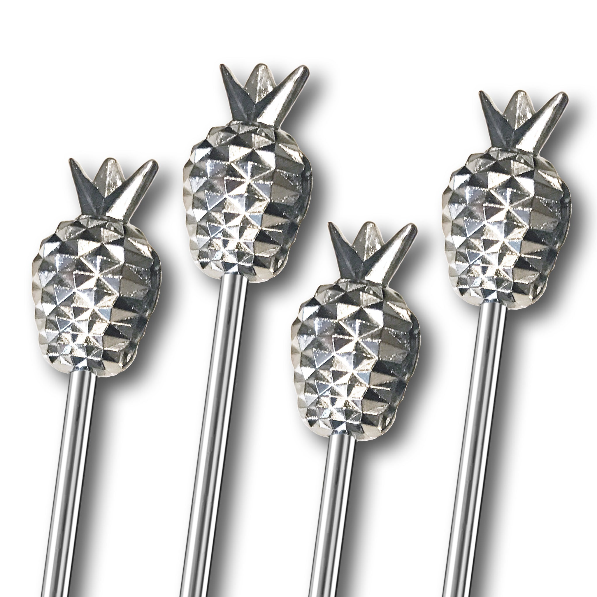Tall Metal Pineapple Stirrers - 4 Pc Set