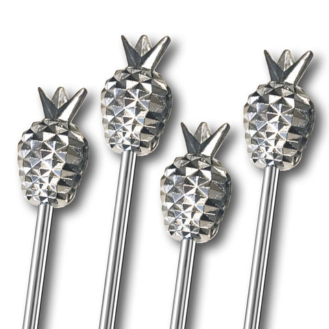 Tall Metal Pineapple Stirrers - 4 Pc Set w/Gift Box