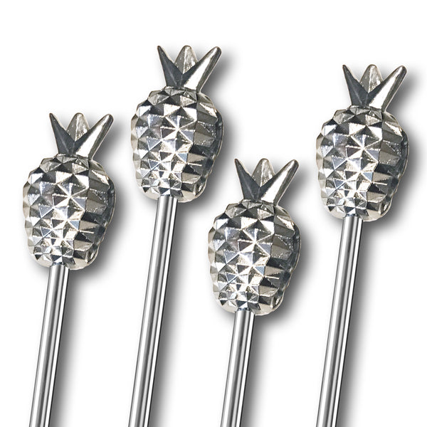 Short Metal Pineapple Stirrers - 4 Pc Set