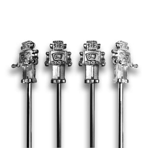 Tall Metal Robot Stirrers - 4 Pc Set w/Gift Box
