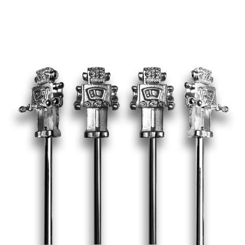 Short Metal Robot Stirrers - 4 Pc Set w/Gift Box