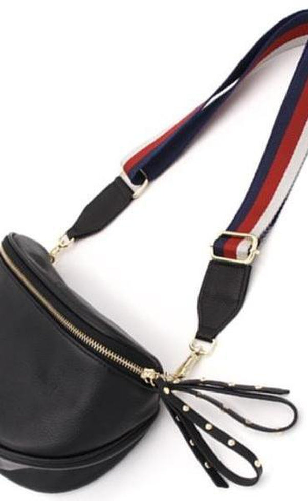 Leather Bumbag with Strap Navy