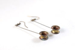 Long Drop Small Thimble Earrings