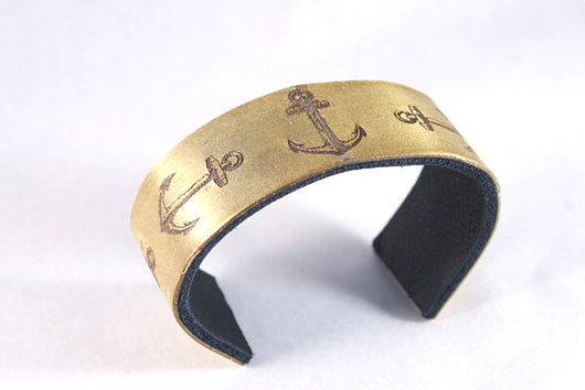 Five Anchor Brass Cuff