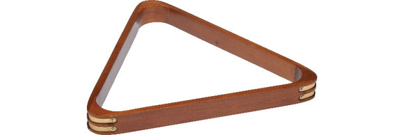 Action RK8B Wood Stain Triangle Rack w/ Brass Corners - Billiard and Pool Center