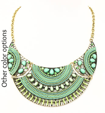 Circles in Green Statement Necklace