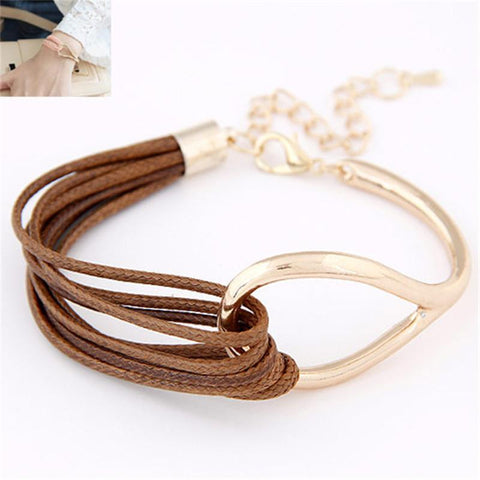 Leather Golden Bracelet Bangle Fashion with Metal Concise