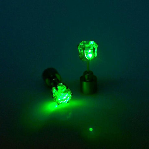 LED glowing crystal stainless earrings