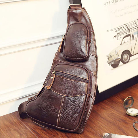 High Quality Men Genuine Leather Cowhide Vintage Sling