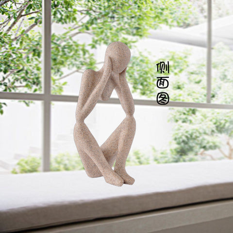 Abstract Figure Thinker Sculpture Sandstone Sculpture