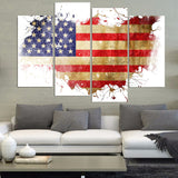 American Flag Unframed 4 Panel Oil Painting