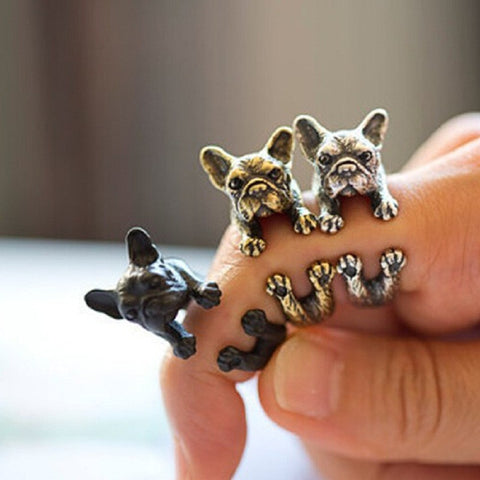Fashion French Bulldog Wrap Ring