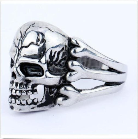 Gothic Men's Skull Flower Biker Zinc alloy Ring