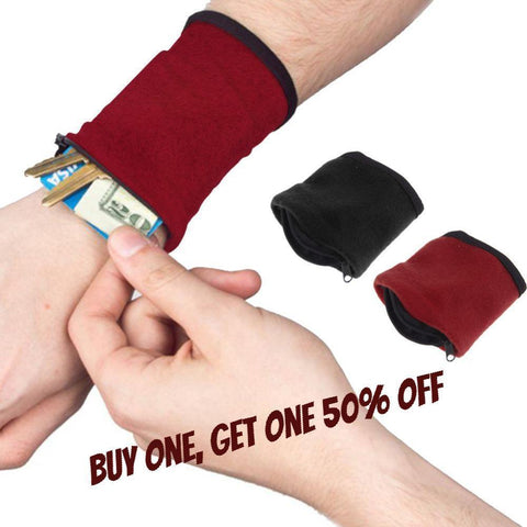 Zipper Fleece Wrist Wallet Pouch