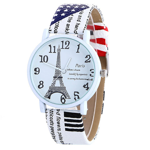 Quartz Leather Eiffel Tower Watch