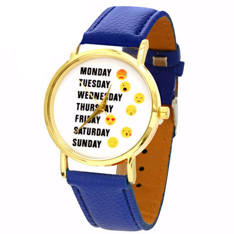 Emoji Leather Quartz Wristwatch