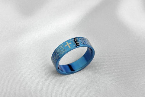 Couple Cross Bible Text Titanium Steel Fine Jewelry Rings