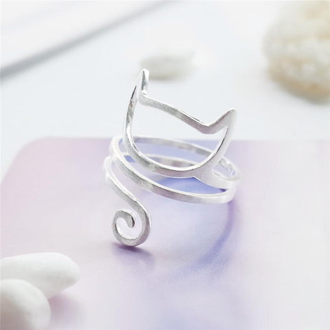 925 Sterling Silver Twine Adjustable Cat Ring