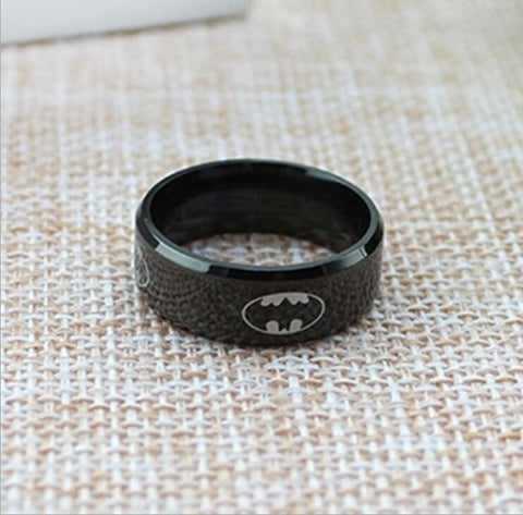 Black Batman Titanium Stainless Steel Ring