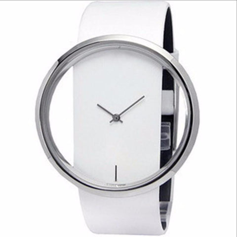New Women Leather Transparent Dial Succinct Sport Quartz Watch Gift Wristwatch