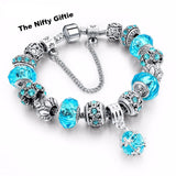 European Style Authentic Tibetan Silver Blue Crystal Charm Bracelet