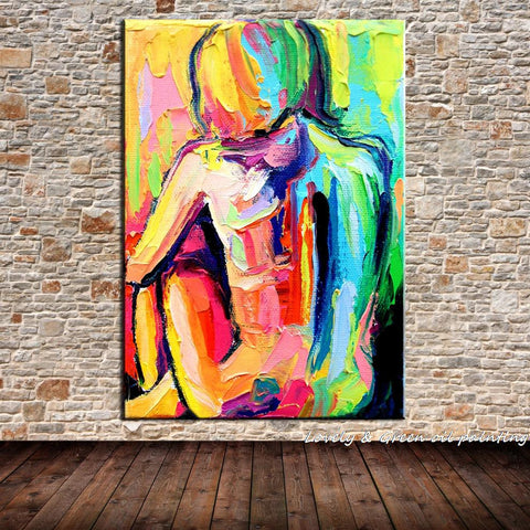 Pondering Women Palette Knife Abstract Oil Painting On Canvas