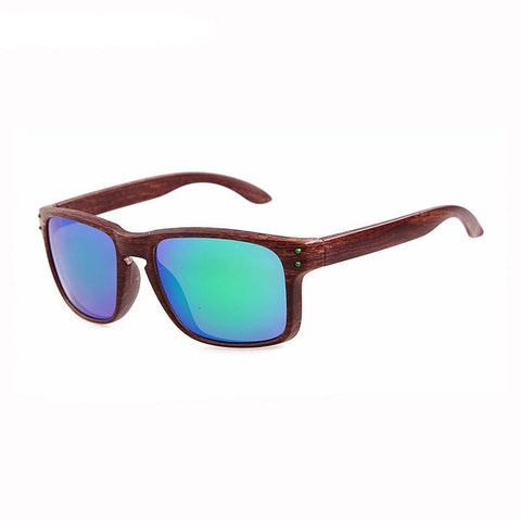 Fashionable Sport Wood Reflective Sun Glasses