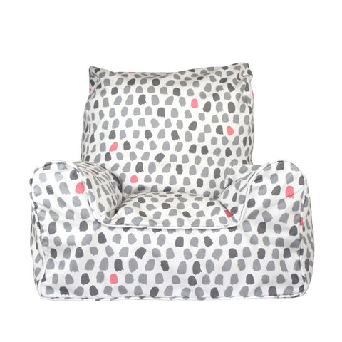 Lelbys Grey & Pink Paint Splotches Girls Bean Chair - Body & Soul Beanbags
