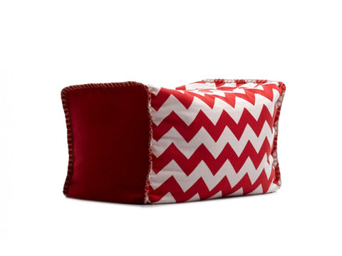 Red & White Sukee Ottoman - Body & Soul Beanbags