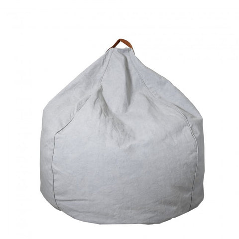 Tigeroy Light Grey Canvas & Leather Teardrop Bean Bag - Body & Soul Beanbags