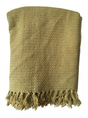 Tigeroy Cotton Throw with Tassels - Mustard - Body & Soul Beanbags