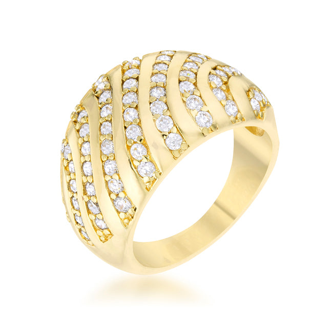 Gold Dome Crystal Ring