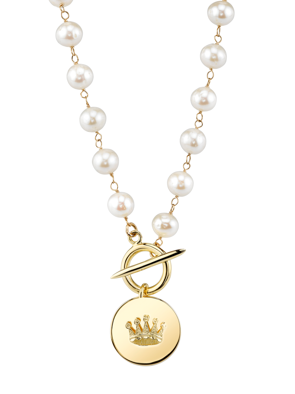 White Pearl Crown Pendant Necklace