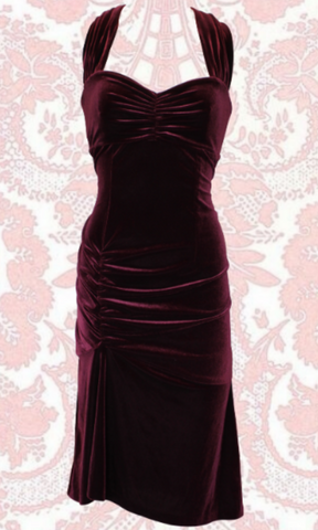 SCREEN SIREN MULBERRY VELVET DRESS