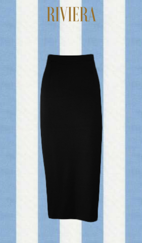 RIVIERA BLACK WIGGLE SKIRT
