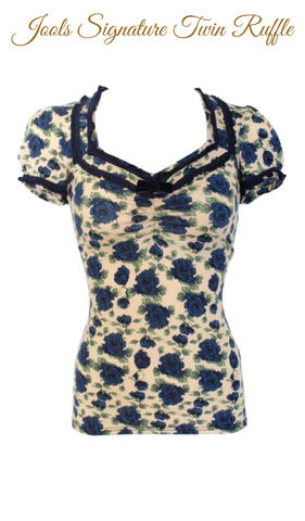 NAVY ROSE BABY DOLL TOP