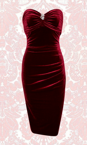 BOMBSHELL ROUGE VELVET DRESS