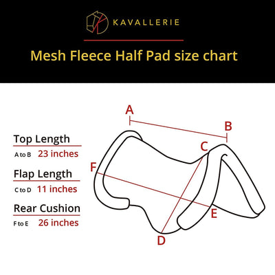 3D Air-Mesh Fleece Lined Half Pad - Kavallerie