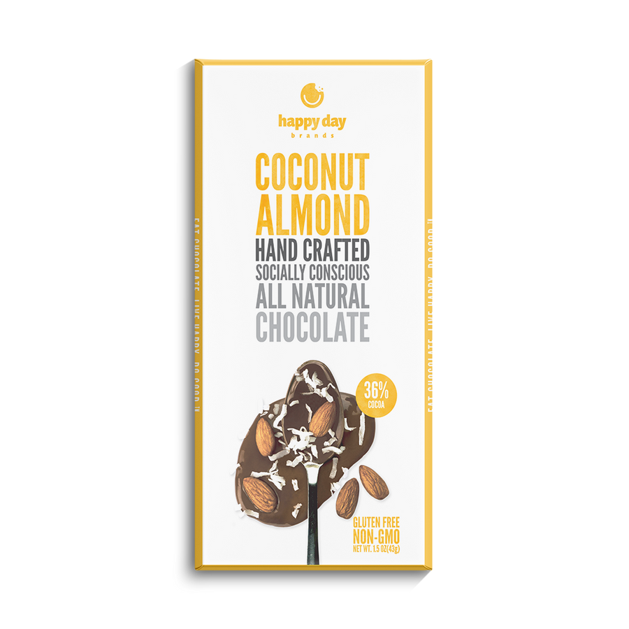 6 PACK MILK CHOCOLATE COCONUT ALMOND CREME 34% COCOA - ALL NATURAL