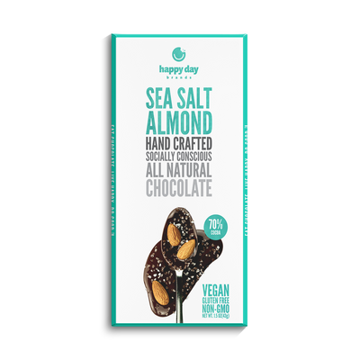 6 PACK DARK CHOCOLATE SEA SALT AND ALMOND 70% COCOA - ALL NATURAL