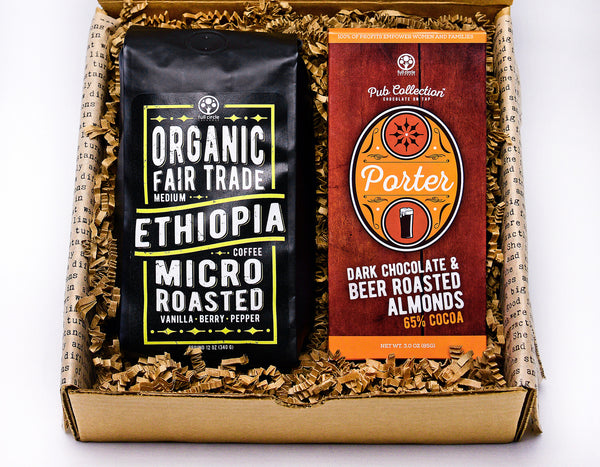 HAPPY DAY GIFT BOX™ - PORTER ALMOND DARK CHOCOLATE AND FAIR TRADE ORGANIC COFFEE