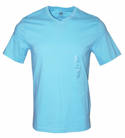 Club Room Men's Solid Short Sleeve V-Neck Cotton T-Shirt (Turquoise, S)