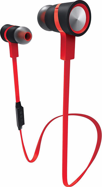 Sharper Image SBT525BKRD Premium Bluetooth Earbuds with Microphone, Red/Black
