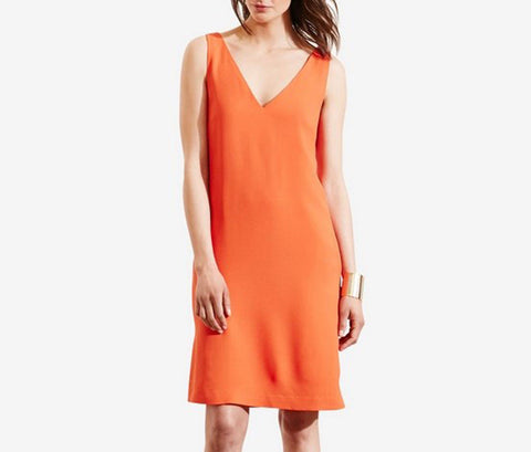 Ralph Lauren Women's Plus Size Crape Sleeveless Shift Dress, Viena Orange