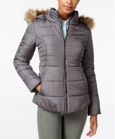 Rampage Women's Faux-Fur-Trim Hooded Ruched Puffer Coat, Grey M