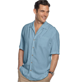Tommy Bahama Men's Bird It Through the Grapevine Silk Shirt, Chambray Blue XXL