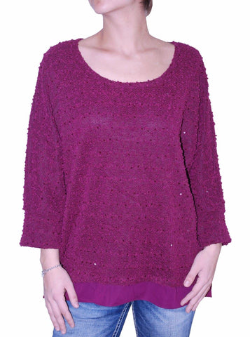 Alfani Women's Top Sequined Textured Knit Pullover Sweater (Purple, L)
