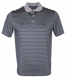 Nautica Men's Classic Fit Short Sleeve Stripe Tech Polo Shirt, Grey Frost Small
